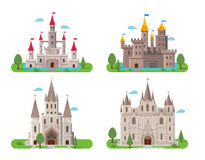 Medieval ancient castles set Royalty Free Stock Image