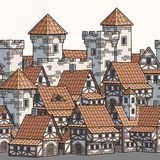 Medieval ancient city. Seamless pattern. stock illustration