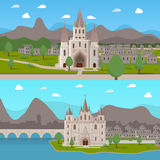 Medieval Ancient Temples Horizontal Compositions Stock Photo