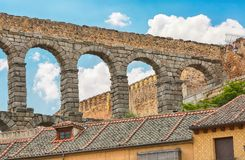 Aqueduct in Segovia, Spain. Medieval aqueduct in the Spanish town Segovia UNESCO World Heritage Site royalty free stock image
