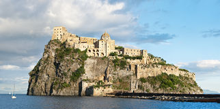 Panorama of medieval Aragonese castle, Ischia island - Italy. Reduced version of image assembled from 21 vertical frames Royalty Free Stock Photo