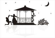 Medieval arbor silhouette Royalty Free Stock Photo