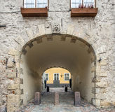 Medieval arch in old Riga city, Latvia Stock Images