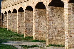 Medieval arch sequence. In the castle courtyard Stock Photography