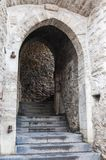 Medieval arch with steps. Medieval stone arch with staircase corridor in Tallinn Estonia Stock Photos