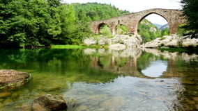 Medieval arched bridge stock video footage