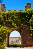 Medieval Arched Door, Castle Interior Walls, Travel Portugal. In 1167 Monsaraz village, that stands inside the medieval castle, was conquered to the moors and it Stock Images