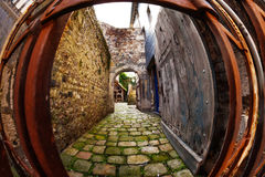 Medieval arched street of Honfleur old city Stock Photography