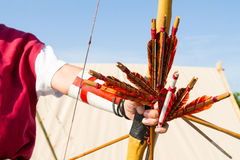 Medieval archer. Ancient crafts historic medieval festival Royalty Free Stock Images