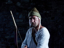 Medieval archer with a bow and arrows Royalty Free Stock Photography