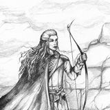 Medieval archer hunter bowman monochrome pencil sketch Royalty Free Stock Image