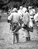 Medieval archers. Black and white photo Stock Image