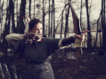 Medieval archery, woman shoot Royalty Free Stock Photography