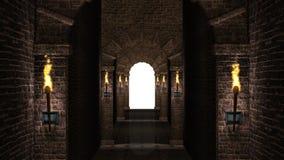 Medieval arches corridor stock footage