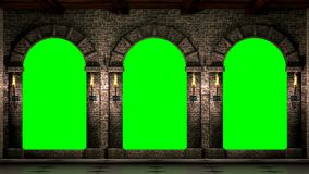 Medieval arches with green screen stock video footage