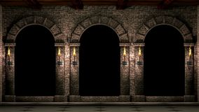 Medieval arches with torches stock video