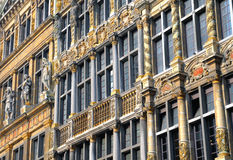 Medieval architecture. Details of medieval architecture of Grand place in Brussels royalty free stock photo