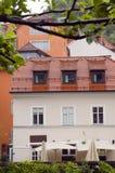 Medieval architecture building on Ljubljanica river Ljubljana Sl Stock Image