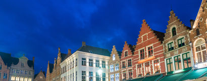 Medieval architecture in Grote Markt Square, Bruges Stock Photos