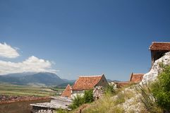 Medieval architecture. Medieval fortress  Rasnov in Transylvania, Romania Royalty Free Stock Photography