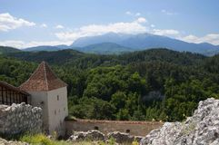 Medieval architecture. Medieval fortress  Rasnov in Transylvania, Romania Stock Photos