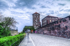 Medieval architecture of Sandomierska Tower and Wawel Castle wal Royalty Free Stock Photography