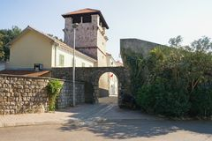 Medieval architecture. Summer house of the noble family Buca. Tivat city, Montenegro royalty free stock photo