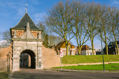 Medieval archway. To the port of the picturesque village Schoonhoven near the river Lek in the Netherlands Stock Photos