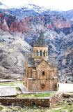 Medieval armenian Noravank monastery complex against red mountains, Armenia Royalty Free Stock Photos