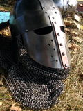 Medieval armor. Closeup of protective head armor worn by medieval warriors Royalty Free Stock Photo