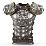 Medieval armor on the body in the style of a lion with large shoulder pads on an isolated white background. 3d Stock Photo