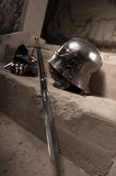 Medieval armor closeup portrait Stock Photos