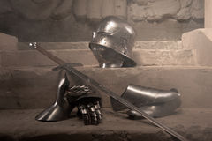Medieval armor closeup portrait Stock Images