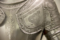 Medieval armor. Detail of an european medieval armor royalty free stock image