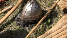 Medieval armor display. On lawn during town`s historical festival stock video footage