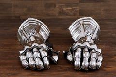 Medieval armor gloves, gloves detail of steel armor. War Stock Image