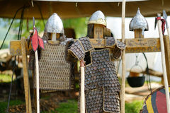 Medieval armor, helmets and spears Royalty Free Stock Images