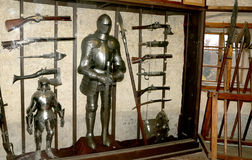Medieval armor in the interior of the houses of Golden alley at Prague castle, Czech Republic Stock Photography