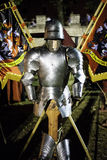 Medieval armor on a stand stock photo