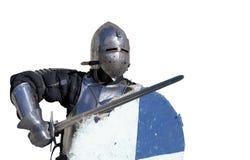 Medieval armor swordsman isolated Stock Photo