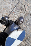 Medieval armor swordsman Stock Images