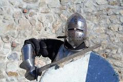 Medieval armor swordsman Royalty Free Stock Images