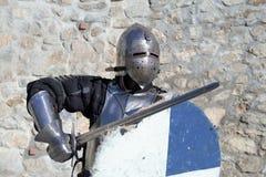 Medieval armor swordsman Stock Photo