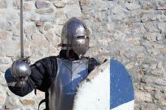 Medieval armor swordsman Stock Photos