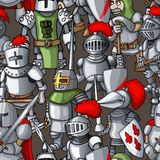 Medieval armored knights formation hand drawn seamless pattern, warriors weapons royalty free stock images