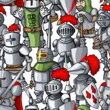 Medieval armored knights formation hand drawn seamless pattern, warriors weapons stock photo