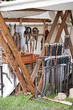 Medieval armory. Some example of medieval ancient weapons in armory Royalty Free Stock Images
