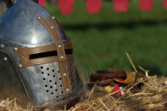 Medieval armour. Medieval helmet and rope  (Close up of a medieval armour Stock Image