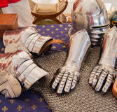 Medieval armour. Close-up of medieval armour items Royalty Free Stock Photo