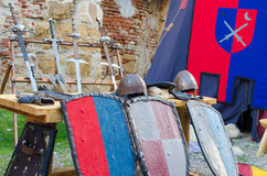 Medieval armour and fighting equipments Stock Images